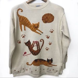 Vintage Aston (1990s) cotton sweater with cats!